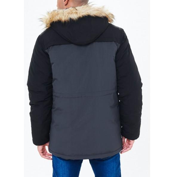 Imitation fur-trimmed coat